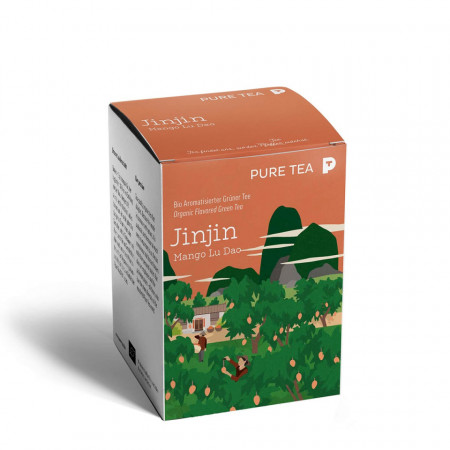 Pure Tea Bio Pyra Jinjin Mango Lu Dao - ceai verde chinezesc in ameste cu ulei de mango, in plic transparent, 3 gr/plic, 15 plicuri in cutie