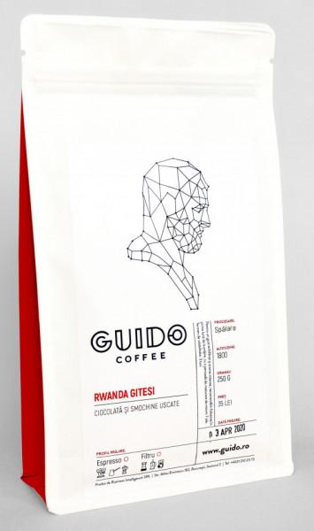 GUIDO Cafea Proaspăt Prăjită RWANDA GITESI, 250g, Note de Ciocolată și Smochine Uscate, Corp Mediu și Cremos, Espresso, Moka pot si Ibric