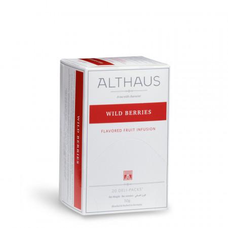 Althaus Deli Pack Wild Berries: Infuzie de Fructe de Padure, 20 plicuri în cutie, 1,75g ceai în plic din hartie