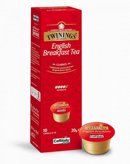 Caffitaly Capsule cu Ceai TWININGS ENGLISH BREAKFAST, potrivite pentru aparatele Cafissimo