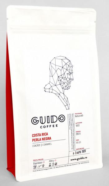 GUIDO Cafea Proaspăt Prăjită COSTA RICA PERLA NEGRA, 250g, Note de Coacăze și Caramel Corp Mediu și Cremos, Espresso si Ibric