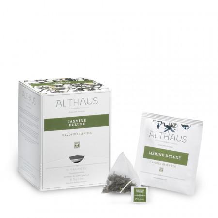Althaus Pyra Pack Jasmine Deluxe: Ceai Verde cu Iasomie, 15 plicuri in cutie,2,75g ceai in plic din matase
