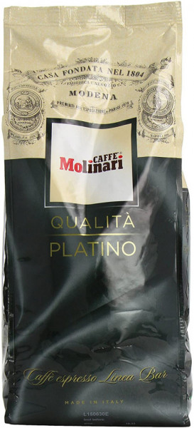 Cafea Boabe Molinari Qualita Platino, Punga 1kg, Amestec, Arabica 60%, Robusta 40%, O Cafea Traditionala