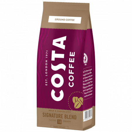 Costa Signature Blend Dark Roast, Cafea Macinata, 200g, Gust Intens cu Note de Ciocolata, Prajire Intensa