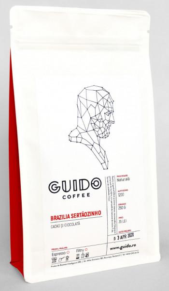 GUIDO Cafea Proaspăt Prăjită BRAZILIA SERTÃOZINHO, 250g, Note de Cacao și Ciocolată Corp Abundent și Plin, Espresso si Ibric