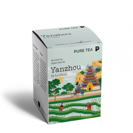 Pure Tea Bio Pyra Yanzhou Pi Lo Chun - ceai verde chinezesc in plic transparent, 3 gr/plic, 15 plicuri in cutie