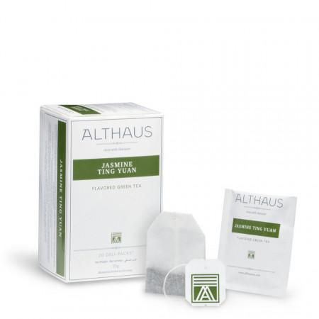 Althaus Deli Pack Jasmine Ting Yuan: Ceai Verde cu Iasomie, 20 plicuri în cutie, 1,75g ceai în plic din hartie