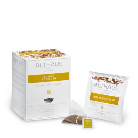 Althaus Pyra Pack Toffee Rooibush: Ceai Rooibush, 15 plicuri in cutie,2,75g ceai in plic din matase