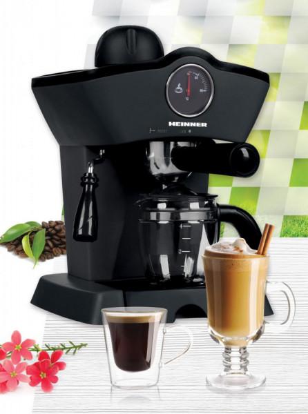 Espressor Heinner Retro Effect, espresso si capuccino, 3.5 bar, 4 cesti, 800W, Negru