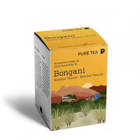 Pure Tea Bio Pyra Bongani Rooibosh Vanilla - ceai rosu imbogatit cu vanilie de burbon, in plic transparent, 3 gr/plic, 15 plicuri in cutie