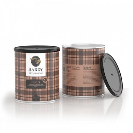 Cafea Hardy Europa, cafea amestec, 250gr, nuci prajite si lemn proaspat taiat