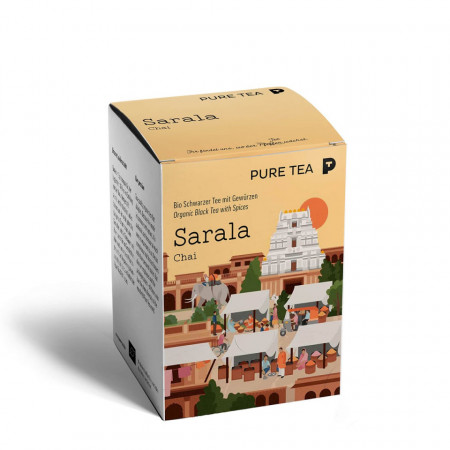Pure Tea Bio Pyra Sarala Chai - ceai negru aromat in plic transparent, 3 gr/plic, 15 plicuri in cutie