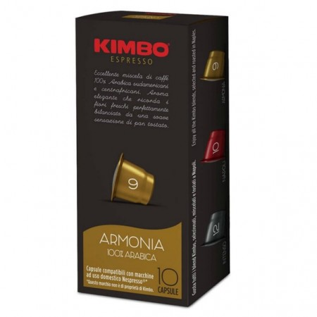 Capsule cafea Kimbo Armonia compatibil Nespresso, , 10 capsule, 58 g, note de paine prajita