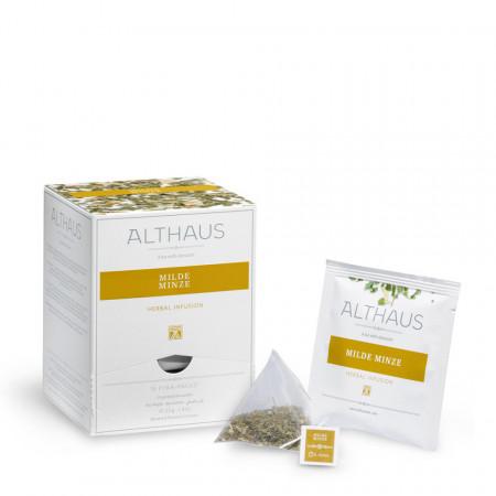 Althaus Pyra Pack Mild Minze: Ceai de Menta, 15 plicuri in cutie,2,75g ceai in plic din matase