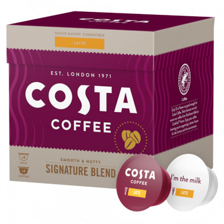 Costa Latte Signature Blend Medium, Capsule de Cafea Compatibile Dolce Gusto, 16 buc.