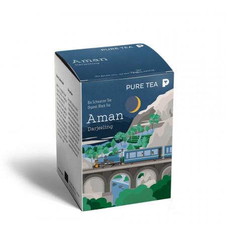 Pure Tea Bio Pyra Aman Darjeeling - ceai negru in plic transparent, 3 gr/plic, 15 plicuri in cutie