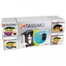 Pachet 12 cutii capsule cafea Tassimo + Cadou Espressor Bosch Tassimo Vivy II, Negru