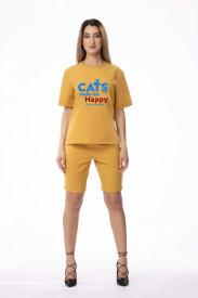 "Compleu de damă galben din 2 piese ""Cats make me happy"""