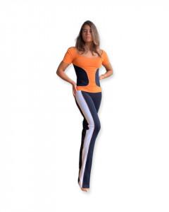 Top sport portocaliu-negru