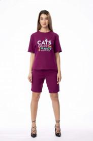 "Compleu de damă mov din 2 piese ""Cats make me happy"""
