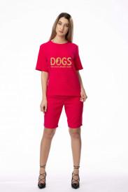 """Compleu de damă roșu din 2 piese """"Dogs"""""""