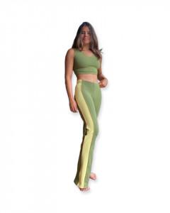Pantaloni sport dungă galbenă