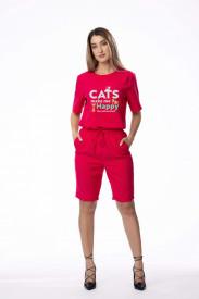 """Compleu de damă roșu din 2 piese """"Cats make me happy"""""""