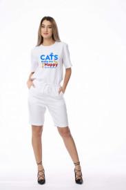 "Compleu de damă alb din 2 piese ""Cats make me happy"""