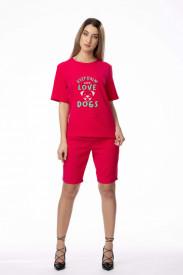 """Compleu de damă roșu din 2 piese """"Keep calm and love dogs"""""""