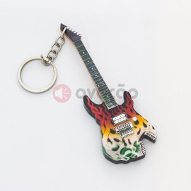 Imagens Porta-Chaves Guitarra George Linch - Skull Flame