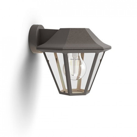 17386/43/PN Philips Curassow wall lantern BrownBrush E27 IP44