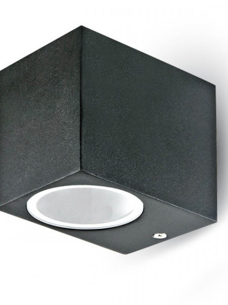7510 Aplique 1xGU10 Aluminium Square Black 1 Way IP44