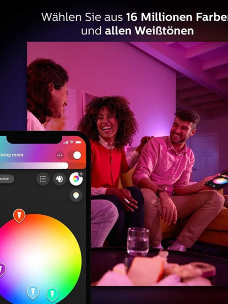 PHILIPS KIT Inicial HUE E27 9,5W RGBW Luz Branca e Colorida