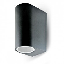 7509 Aplique Aluminium Round Black 2 Way 2xGU10 IP44