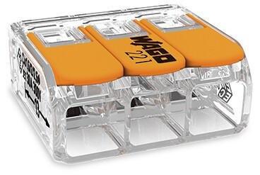 WAGO - Ligador compacto   até 0 6mm'   laranja / transparente   3 condutores   ref. 221-613 NOVIDADE