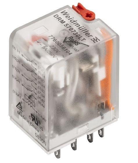 Weidmuller DRM570730LT 230VAC c/LED + Botão de teste 7760056104