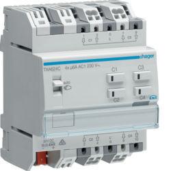 TXA624C - Actuador estores/pers. 4 canais 230V KNX HAGER EAN:3250616048751