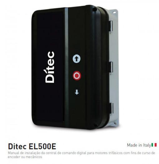 DITEC - EL500E - QUADRO DE COMANDO PARA 1 MOTOR TRIFÁSICO COM FINS DE CURSO MECÂNICOS. CONFIGURAÇÃO LED