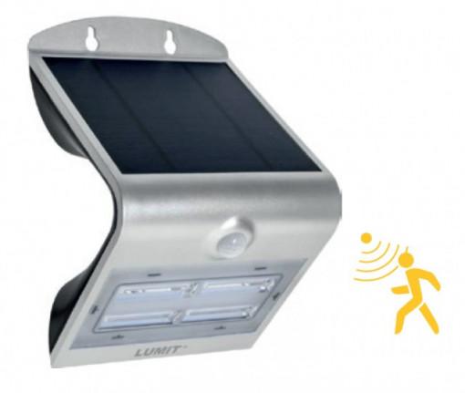 Aplique LED solar 3,2W c/ sensor e bateria 120º 6000K