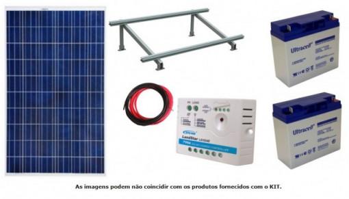 Kit Solar Fotovoltaico 270W c/ bateria gel 2x 12V/22Ah p/ automatismos portões 24V DC