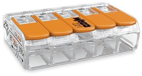 WAGO - Ligador compacto   até 0 4mm'   laranja I transparente   5 condutores   ref. 221-415