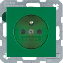 BERKER - 6765760063 - S.1/B.x - tomada FR obturad., verde mt 23