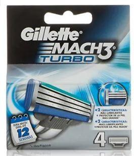 Higiene Pessoal, Detergentes e Ambientadores - 4266 - Gillette Mach 3 Turbo Lâminas c/4 K.M.S