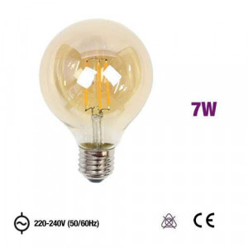 MRD-G125E2770CEA - LÂMPADA E27 G125 LED FILAMENTO 7W 2300K AMBER GLASS OMNIUM ELECTRIC