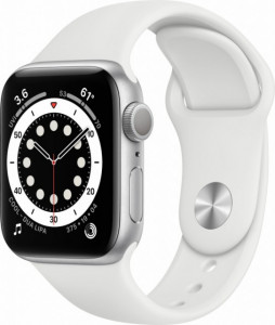 Watch Apple Watch Series 6 GPS 44mm Silver Aluminium Case with Sport Band - White EU
