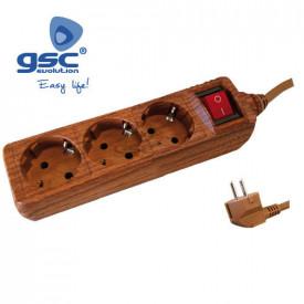 000001061 - 8433373010611 Extensão Multipla 3T + Int. (3x1.5mm) 1,5M madeira