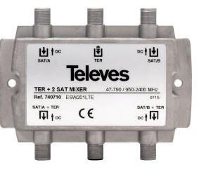 """740710 -8424450178003 TELEVES - Misturador Blindado 3e/1s TV-SAT1-SAT2 """"F"""""""