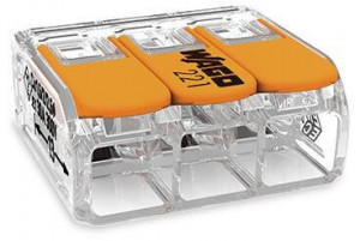 WAGO - Ligador compacto | até 0 6mm' | laranja / transparente | 3 condutores | ref. 221-613 NOVIDADE