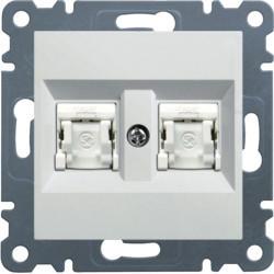 WL2180 - lumina 2 RJ45 Cat.6 FTP duplo, branco HAGER EAN:8694407001207