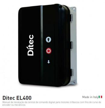 DITEC - EL400 - QUADRO DE COMANDO PARA 1 MOTOR TRIFÁSICO COM FINS DE CURSO MECÂNICOS. CONFIGURAÇÃO LED